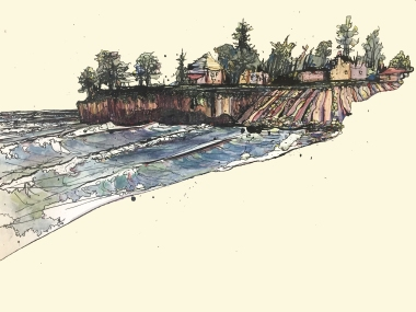 Ink and Watercolor reimagining of Santa Cruz sea cliff
